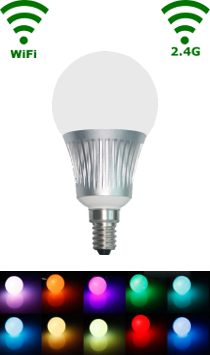LED E14 - Bulb - 5W RGB/Warm wit WiFi/RF Controlled