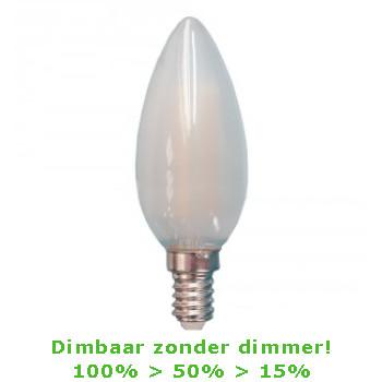 LED E14-C35 4 Watt Filament Kaarslamp - 2700K - 3 Staps Dimbaar- 450 Lm