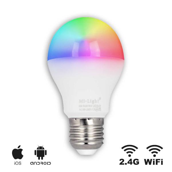 LED E27 RGB Bulb 6W RGB CCT Wifi RF Controlled