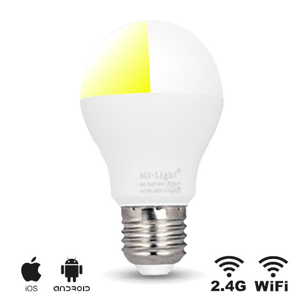 LED E27 Bulb Dual White 6W Wifi RF Controlled