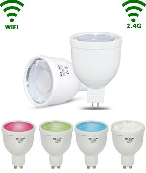 Led GU 5.3 Spot RGB/Warm wit - 4W-Wifi/RF controlled