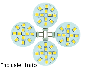 Set 4 x led G4, 2W vervangt 20W, incl. trafo