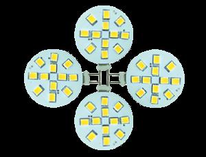 Set 4 x led G4, 2W vervangt 20W, incl. trafo